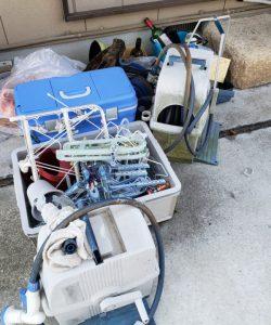 ホールリール、クーラーボックス、プラケース、洗濯ピンチ、その他備品類を回収させて頂きました。
